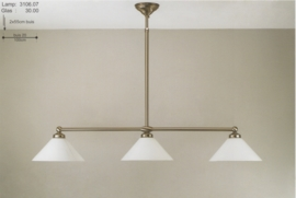 T-lamp 3-L br-100cm mat nikkel met opaal witte dakkappen nr 3106.07