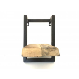 wandrek 1-plank 3cm dik mangohout br24cm donker metalen frame nr 3100