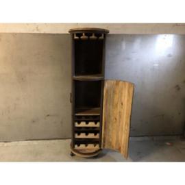 Cilindrisch wijnrek glasrek planken en wijnrek achter deur h-150 d-45 nr 30024
