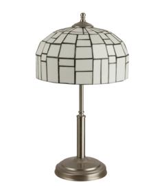 Tafellamp mt/nk h50cm E27 60w met tiffany iglo kap wit d27cm nr 7T50-ph2