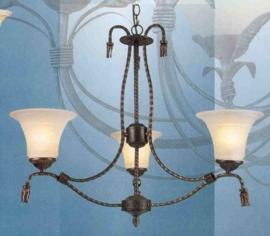 Bronskleurige hanglamp 3-lichts met bewerkte kappen nr:20355/3