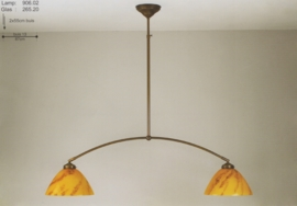 T-lamp boog 2-L br-87cm midden bruin gemarmerde calimero kap nr 906.02