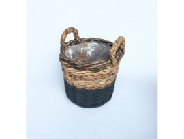 Bloemenmand Basket cilinder M ABACA natural zwart d-35cm nr 800871A