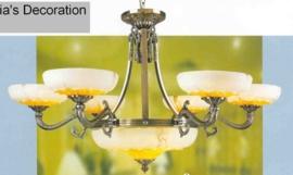 Retro hanglamp antiek messing 9-lichts nr:20368/6+3