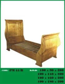 Grenen kajuitbed 1-persoons nieuw gemaakt van oud hout nr: 41/b 90x200
