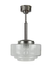 Pendel buis 13/25 h-48cm mat nikkel met heldere glazen bol trapkap 25cm 7Cb-425.55