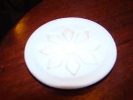 Rond wit zeepbordje of zeepbakje.