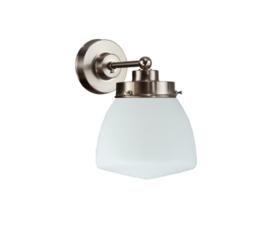 Wandlamp wandmini mat nikkel met opaal bol Schoolbol nr 7Wm-476.00