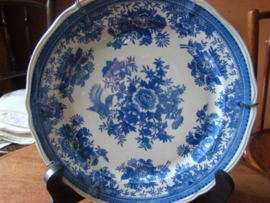 Oud wandbord   blauwwit met bloemen villeroy&boch Mettlach Fasan