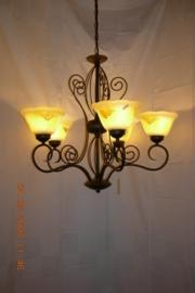 Bronskleurige hanglamp 3-lichts met gekleurde kapjes nr:20384/3