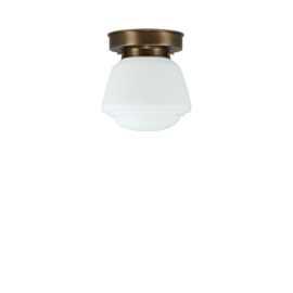 Plafonniere glazen bol Cook 16cm opaal met oud messing ophanging nr 4P1-462.00