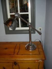 Mooie zware chrome bureaulamp ronde poot met 2 buigpunten Industrial