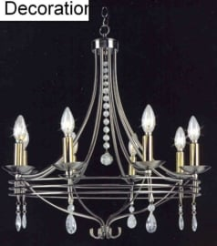 Mat nikkel hanglamp met glazen pegels 8-lichts nr:20387-8