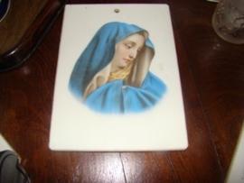 Wit glazen plateau met afbeelding van Maria.