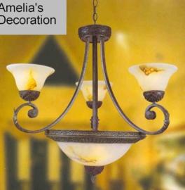 Antiek bruin gekleurde hanglamp met schaal en kappen nr:20331B/3+3