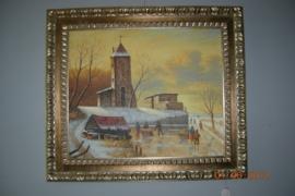 Schilderij met afbeelding van een kerk en ijspret