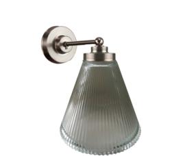 Wandlamp wand mini mat nikkel ribbel helder kapje model Trechter nr 7WM-18.11