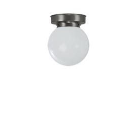Plafonniere glazen bol Bol 15cm opaal met mat nikkel ophanging nr 7P1-1500.00