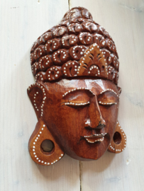 Boedha wandmasker 25cm hoog bruin met de hand geschilderd