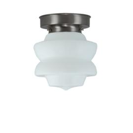 Plafonniere glazen bol Diabolo 17cm opaal met mat nikkel ophanging nr 7P1-465.00