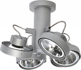 Lofar 4-lichts spot opbouw mat zilver op buis S met osram lichtbron 05-SP1281-17S