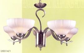 Mat nikkel hanglamp met 5 glazen coupes nr:20301/5