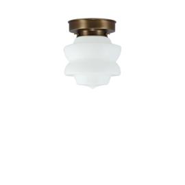 Plafonniere glazen bol Diabolo 17cm opaal met oud messing ophanging nr 4P1-465.00