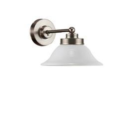 Wandlamp wand mini mat nikkel met opaal kapje model Hoedkap nr 7WM-520.00