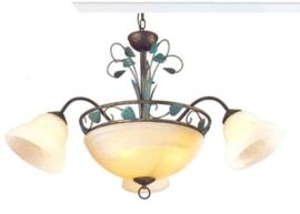 Bronskleurige hanglamp 6-lichts nr:20338/3+3
