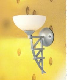 Mat nikkel wandlamp met glazen schaal nr:20325/1