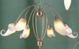 Mat nikkel hanglamp met 6 geschulpte kappen nr:20395/6