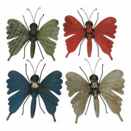 handgemaakte vlinder wand of raam decoratie oud ijzer blik h30cm nr 7089