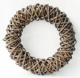 Handgevlochten krans grijs natural d-30cm nr 900090