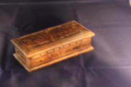 Sieraden kistje handgemaakt houtsnijwerk medium b-20,5cm nr 1812B