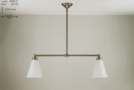 T-lamp 2-L br-80cm mat nikkel met opaal witte trechter kappen nr 2086.07