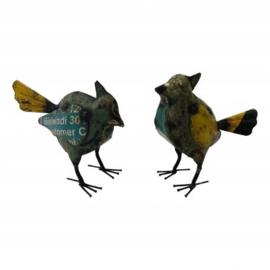 handgemaakte vogel van oud ijzer blik h15cm nr 5220