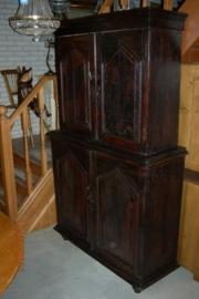 Antiek koloniaal 4-deurs kabinet +/- 1890 nr 10003