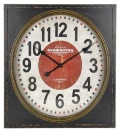 Wandklok hout antiek zwart 70cm grote uitvoering nr Y36400000