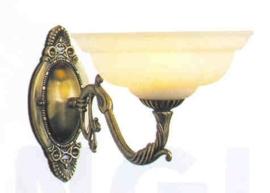 Retro wandlamp antiek messing met mat glas nr:20369/1a
