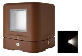 Buitenlamp sokkel serie Kubs d12cm 1 zijde 4W LED roestbruin nr 404.01214/1