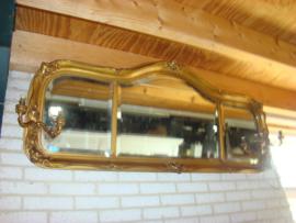 Deense vergulde  geslepen spiegel met lampjes.