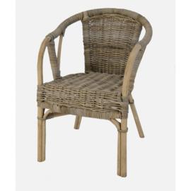 Handgevlochten stevige stoel in grijs natural uitvoering h-82cm nr 6933