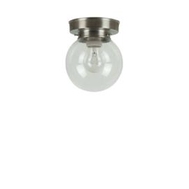 Plafonniere heldere glazen bol Bol 15cm met mat nikkel ophanging nr 7P1-1500.55
