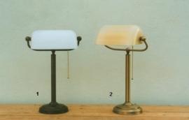 burolamp bankiersglas champagne mat en vaste voet oud messing (nr 2 op foto)