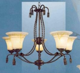 Bronskleurige hanglamp 5-lichts met bewerkte kapjes nr:20355/5