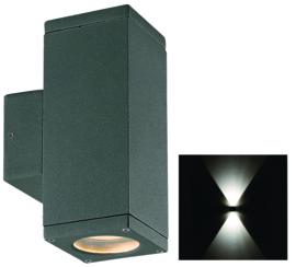 Buitenspot gevelspot 2-lichts antraciet ALU 2xgu10 nr 38555