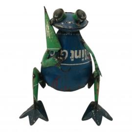 kikker zittend paraplu S gemaakt van oud ijzer h18cm elke kikker uniek nr 5772