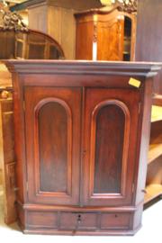 Engelse antieke mahonie hang hoekkast met 2 deuren omstreeks 1850 nr 11311