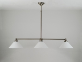 T-lamp 120cm breed mat nikkel met opaal witte dakkappen nr 3126.07