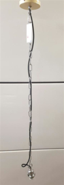 Kettingpendel E27 creme 120cm katoensnoer zwart met ketting nr 05-P9949-cr